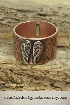 Angel wing ring Thumb ring Copper ring Adjustable ring Boho ring Statement ring Cuff ring Guardian Angel jewelry Wide rustic Gift for her Band Engagement Ring, Engagement Ring Settings, Vintage Engagement Rings, Angel Wings Jewelry, Bohemian Rings, Thumb Rings, Halo Diamond, Handmade Market, Etsy Handmade