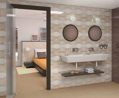 Peaceful and clean Wall Tiles, Mirror, Bathroom, Furniture, Design, Home Decor, Environment, Round Bathroom Mirror, Porcelain Tiles