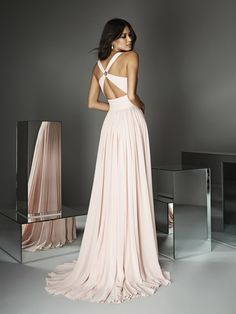 Light pink formal party dress with sexy straps Evening Dresses Online, Cheap Evening Dresses, A Line Prom Dresses, Strapless Dress Formal, Bridesmaid Dresses, Long Dresses, Party Dresses, Pink Chiffon Dress, Western Gown