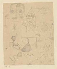 Paul Klee Gestirne und Sternbilder (Stars and Constellations) 1919 Pencil on foolscap paper laid down on the artist's mount 8 1/8 x 6 3/4""