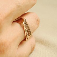 One Golden Square Top Ring - One Thread of Gold - Tiny Hammered Stacking Ring - Delicate Jewelry