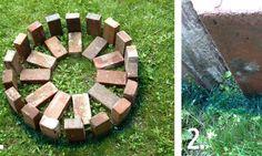 Il commence par placer des briques en rond, puis il se met à creuser: le résultat vous épatera vraiment!