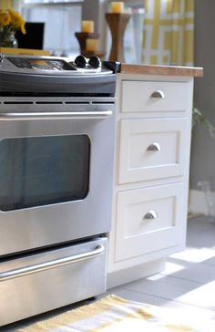 - Need oven like this with a lower draw for a boiler that also can be storage for pots and pans Yellow Kitchen Accents, Yellow Accents, Kitchen Redo, New Kitchen, Kitchen Ideas, New Cabinet, Cabinet Doors, Kitchen Renovations, Kitchen Remodel