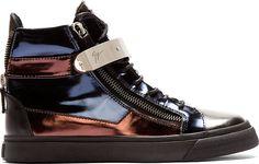 Giuseppe Zanotti - Navy Metallic Leather High-Top Sneakers