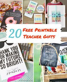 20 Awesome Free Printable Teacher Gifts. From gift card holders, art, treat tags and more.