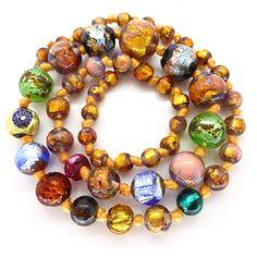Vintage Bohemian Opalescent Rainbow Millefiori Foil Glass Bead Necklace | Clarice Jewellery