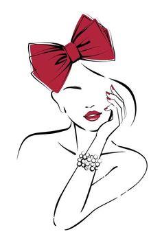 Bow Drawing, Pop Art Drawing, Canvas Artwork, Canvas Art Prints, Red Artwork, Art Forms, Cute Drawings, Fine Art Paper, Line Art