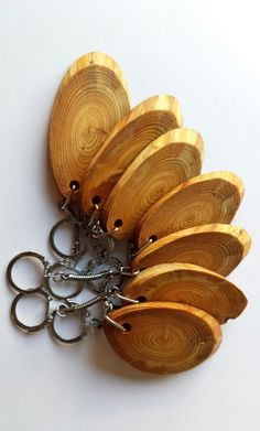 Wooden keyring Larch Key Rings Key ring by CottageCoppicing