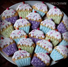 cupcake cookies | by mint_lemonade Cookie Desserts, Cupcake Cookies, Cookie Recipes, Cupcakes, Mint Lemonade, Cookie Decorating, Birthday, Sweet, Food