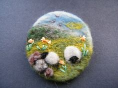 Unique Hand Made Needle Felted Brooch -' Lazy Days' by Tracey Dunn sheep brooch grat mothers gift