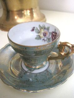 Royal China Teacup and Saucer Teal Pansy by veronicaroo on Etsy