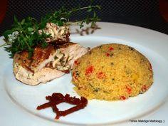 Ostefylte kyllingsbryst med basilikum-couscous - TRINEs MATBLOGG