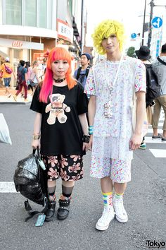 Cindy & Franky - the designers of the popular-in-Tokyo fashion brand Devilish - on the street in Harajuku wearing fashion and accessories by Devilish