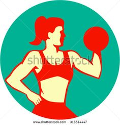 Illustration of a female woman lifting dumbbell weight training fitness viewed from the side set inside circle done in retro style on isolated background, - stock vector #bodybuilder #retro #illustration