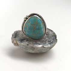 Handmade Turquoise Ring finished with a hammered wide band. Handmade Silver, Handmade Jewelry, Floral Engagement Ring, Cowgirl Bling, Turquoise Rings, Ring Earrings, Custom Jewelry, Natural Gemstones, Jewelry Accessories
