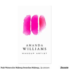 Pink Watercolor Makeup Swatches Makeup Artist Pack Of Standard Business Cards