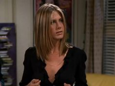 Jennifer Aniston as Rachel Green in FRIENDS; with a short-medium hairstyle + some steps in the front