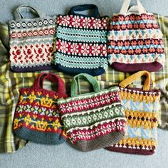 meeting of the tote bag of wool you want knitting Nordic-style pattern of carefully [the first trial] Afghan knitting (six times limited col ...