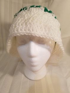 656c3a1b5ba WOMENS HANDMADE CROCHET SOFT CLOCHE BUCKET WHITE WITH GREEN ACCENT  fashion   clothing  shoes