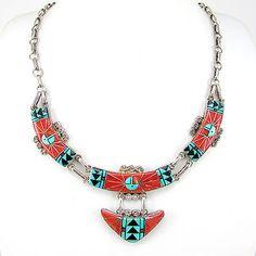 Excellent Zuni OLA ERIACHO Sterling Silver Mosaic Inlay Necklace | G LA