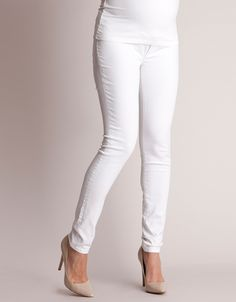 <ul> <li>4-way stretch denim</li> <li>Seamless over bump band</li> <li>Stylish zips to the ankles</li> </ul> <p>Bright white is the must-have denim style this season, and our White Slim Leg Maternity Jeans are the perfect pair! Made in premium 4-way stretch denim, these jeans offer a flattering fit and superior shape retention, while a super soft over bump band slips discreetly under your top to provide gentle support around your middle, and a flexible fit for every stage of pregnancy. ...