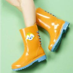 Rouroliu PVC Lace-up Ankle Rain Boots Women Cartoon Candy Colors Flat Heels Rainboots Water Shoes Woman Wellies Wellies Boots, Shoe Boots, Barefoot Shoes, Boot Types, Boot Brands, Kawaii Clothes, Water Shoes, Lace Up Heels, Ladies Dress Design