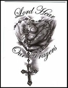 """Lord Hear Our Prayer Temporaray Tattoo by Tattoo Fun. $3.95. This is a black and white Temporary tattoo of a set of hands holding a rosary with the words """"Lord Hear Our Prayers"""" written around them. It measures approx 3 1/4"""" long x 1 3/4"""" wide."""