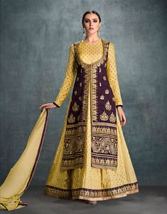 Yellow Banglori Silk Long Anarkali Suit 73194