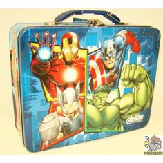 Marvel Avengers Metal Tin Lunch Box Blue Team