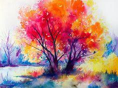 Colorful tree landscape watercolor painting print por SlaviART