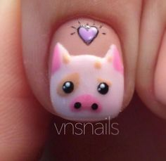 Ideas for fails art 2019 pig Pig Nail Art, Pig Nails, Pig Art, New Year's Nails, Cute Nail Art, Nail Art Diy, Cute Nails, Pretty Nails, Farm Animal Nails