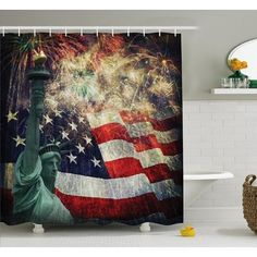"""Ambesonne American Flag Composite Photo of States Idols with Fireworks on Background 4th of July Shower Curtain Set Size: 75"""" H x 69"""" W x 1"""" D"""