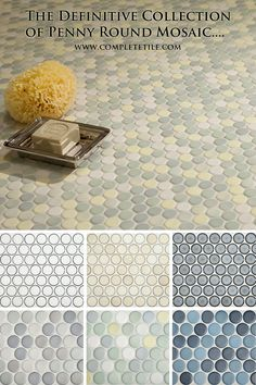 Penny Round Mosaic Tiles in porcelain are retro classics, but these new colors bring them into a fresh, modern look. Exciting mosaic for bathrooms and kitchens. See all 45 penny tile colors. Bath Tiles, Mosaic Tiles, Tiling, Home Depot, Bathroom Fitters, Penny Tile, Master Bath Remodel, Casa Real, Revere Pewter