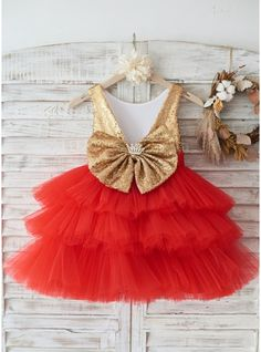 Gold Sequin Red Cupcake Tulle Deep V Back Wedding Flower Girl Dress Holiday Party Dress Girls Holiday Dresses, Holiday Party Dresses, Dresses For Teens, Special Occasion Dresses, Girls Dresses, Holiday Parties, Dresses Online, Dusty Pink Bridesmaid Dresses, Cocktail Bridesmaid Dresses