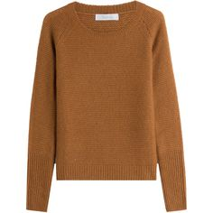 Max Mara Silk-Cashmere Pullover ($450) ❤ liked on Polyvore featuring tops, sweaters, brown, silk cashmere sweater, lightweight sweaters, pullover sweater, cashmere tops and wool cashmere sweater