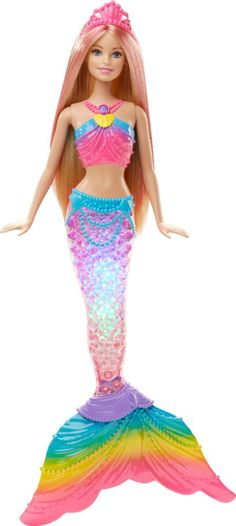 A Rainbow Light Show in Barbie Doll's Tail! Tell all kinds of fantastic tales with this magical mermaid doll! The Barbie Rainbow Lights Mermaid doll has a tail that reveals a surprise when activated by water -- a sparkling rainbow lights show! Barbie Mermaid Doll, Mermaid Toys, Mattel Barbie, Barbie Dolls, Barbie Kids, Princess Toys, Disney Princess, Rainbow Light, Baby Jogger