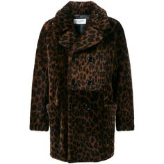 Saint Laurent Saint Laurent Leopard Print Shearling Coat (204.185 CZK) ❤ liked on Polyvore featuring men's fashion, men's clothing, men's outerwear, men's coats, brown, mens shearling coat and mens brown coat