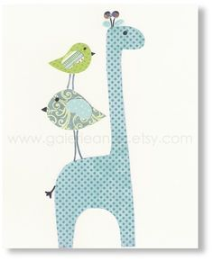 Nursery art prints, baby nursery decor, nursery wall art, children room decor, kids art, personalized, Giraffe Birds, Elegance 8x10 print. $14.00, via Etsy.