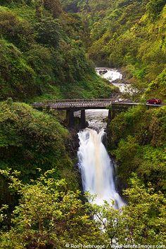 Waterfall along the Hana Highway, near Hana, Maui, Hawaii.