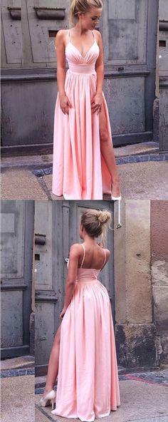 A-Line Split Side Pink Chiffon  Prom Dress, Formal Dress with Split #prom #eveningdress