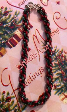 Red and Green Ribbons and Garland Double Spiral Chainmail Bracelet | Linkdbylori - Jewelry on ArtFire