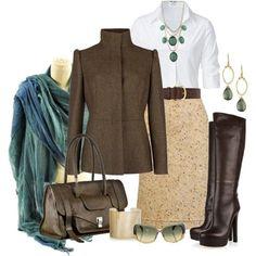 STEFFEN SCHRAUT White Valencia Fancy Blouse/beige tweed skirt/brown leather jacket and boots/aqua scarf