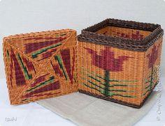 Поделка изделие Плетение Плетеный короб с орнаментом Бумага газетная фото 2