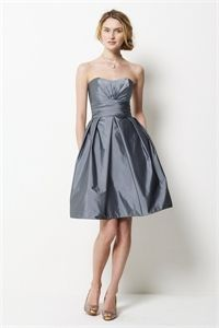 Knee Length Strapless Dress, Charcoal Gray Cocktail Dresses, Prom Gown   $96.00