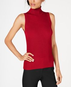 b25d1567f4 Anne Klein Sleeveless Turtleneck Sweater - Red L Red Sweaters, Sweaters For  Women, Sleeveless