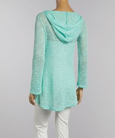 Look at this Mint Sheer Knit Hoodie on #zulily today!