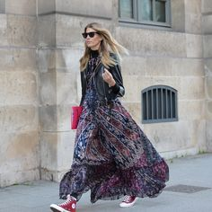 maxi, leather & chucks. Veronika in Paris. #VeronikaHeilbrunner