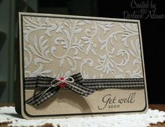 Stamps: Sincere Salutations   Paper: Kraft, Black   Ink: Palette New Canvas white, Stazon Jet Black   Accessories: gingham ribbon, button, linen thread, Scor-pal, CB embossing folder