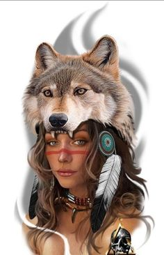 Native American Tattoos, Native Tattoos, Native American Women, Wolf Tattoos, Wolf Face Drawing, Indian Girl Tattoos, Face Tattoos For Women, Indian Wolf, Indian Drawing