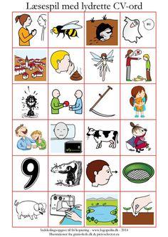 Til børnehaveklassepigen (omtalt hér) med fonem-/grafembesvær har jeg lavet et læsespil med lydrette CV-ord. Jeg ville give hende en fornemmelse for, hvad bogstaver gør godt for, for det er helt ty…